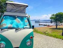 ■猪苗代湖■徒歩1分で開放的なビーチへ。当館のカワイイ車はインスタポイント♪