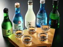 ■夕食イメージ■諏訪五蔵飲み比べセット。上諏訪には酒蔵が5つあります。