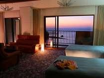 【貴賓室】海一望!露天風呂付き+和室2間+リビング+ツインベッド+内湯