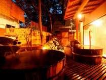 浴場「緑風」には源泉掛け流しの桶風呂が3つも!
