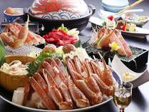 かにすき鍋と但馬牛の焼きしゃぶ料理(一例)〆めの雑炊も見逃せません