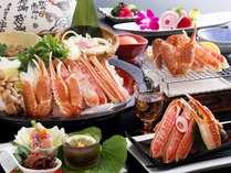 小食な方向けに♪刺し・焼き・蟹すきで計1.5匹の平日限定プラン(写真:かにすき盛は2名様分)