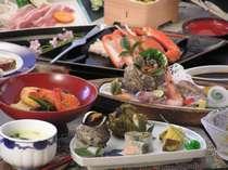 海の幸の会席料理の一例