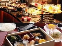 【朝食】嵐亭の和朝食、ラジョウの和洋朝食バイキング、お好きなご朝食をお選びください。
