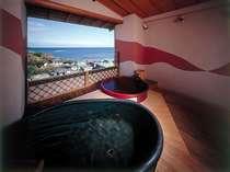 最上階にある 人気の貸切り露天風呂 陶器タイプ平日貸切露天風呂一回40分無料