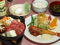 *[ご夕食一例]家庭的なメニューをご用意(+600円(税込)で「ミニすき焼き」を付ける事が可)