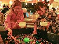 【玉造温泉夏祭り】当館隣のキッズ夜店では射的やあてくじなど大人も夢中の遊びがいっぱいです!