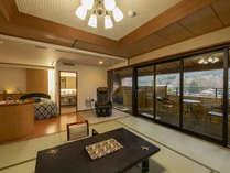 【禁煙】露天風呂付パノラマスイート 最上階の特別和洋室。記念日のご利用におすすめ。