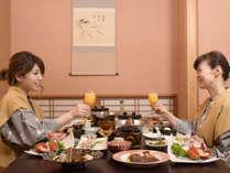 館内隠れ家料亭『美膳庵 内子』でゆっくりお食事。愛媛のポンジュースで乾杯♪