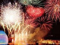 【ラグナシア花火】光と音の幻想的なショーをお楽しみ下さい。当館のお部屋からも花火がご覧頂けます!