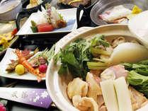 【三河鶏×茄子田楽】山海の宴 旬花~shunka~(お鍋は2人分の内容です。※夏は別の逸品になります)