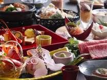 【春料理(一例)】彩豊かな岩崎会席。地元の食材をふんだんに使用しております。