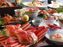 【冬料理(一例)】蟹の量がもっとも多い会席。お一人様に姿蟹1枚は大迫力!(蟹は冷凍ずわい蟹を使用)
