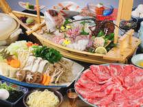 とろける和牛すき焼き×プリプリ伊勢エビ付の舟盛の美味し饗宴≪すき舟会席≫