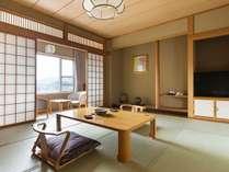 飛燕閣和室一例。広縁から温根湯ののどかな風景をご覧ください