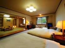 【聴水閣】和洋室 和室8畳+ツインベッド。お布団を敷くこともできます