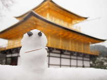 雪だるまと金閣寺