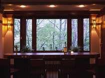 食後はライトアップされた森を眺めるバーでゆっくりと