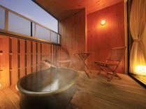 客室の露天風呂も100%源泉かけ流し