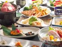 地元産の食材を多用した季節の会席料理(一例)