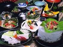 夏季プラン料理の一例※こだわりの厳選素材を使用。内容は随時変わります。