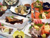 【ご夕食例】新鮮な海の幸を中心に、季節に応じたお食事をご用意致します。美味しいごはんにお腹も満足★