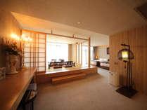 二部屋限定のスイートルーム。お庭の露天風呂から望む最高の眺望付き