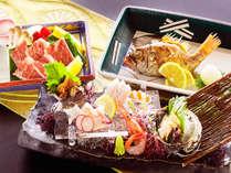 """のどぐろに鮑、すぐ目の前の日本海で獲れる鮮魚と地元""""村上市""""が誇る国産黒毛和牛「村上牛」を存分に。"""