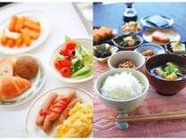朝食バイキング。お好きな料理を、たくさんお召し上がりください。