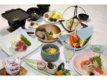 松プランの料理例です。しまね和牛石板焼、カニ、甘鯛など。日によって材料は変わる事があります。