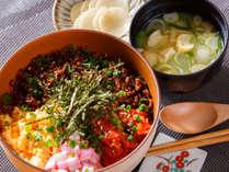 【朝食】ただいま丼 栄養満点の彩り溢れる「ただいま丼」で最高の一日をスタートさせてください。