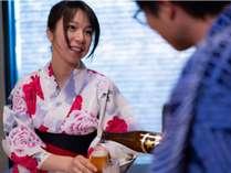露天風呂付客室では冷蔵庫の中のお飲み物をサービス♪ビールで乾杯☆