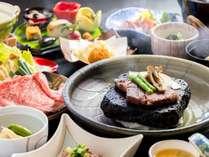 牛三種のお料理で、当館で一番人気のプランです。