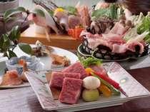 地元、岡山の食材をふんだんに盛り込んだ地産地消、当館の名物コース「岡山づくし」プラン