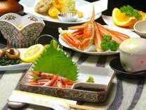 季節の会席料理。津居山港で揚がる、新鮮な海の幸は格別。