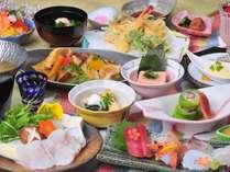 """幻の高級魚""""クエ""""を鍋で堪能♪ クエ鍋メインの「白浜物語会席」(一例)"""