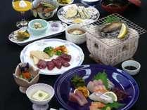1泊2食付プラン【部屋食】 ひびき名物あわびの踊り焼き、サイコロステーキ付き会席料理