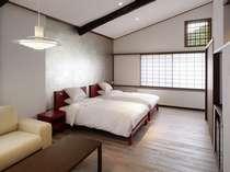 リニューアルした東亭温泉内風呂付きツインベットルーム(一例)