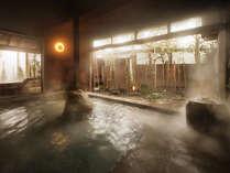 【男性大浴場】御影石の大浴場。美肌の湯として名高い天童の湯を心ゆくまで。