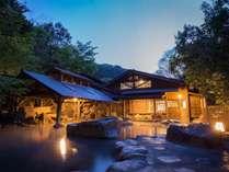 夕暮れの露天「仙人風呂(大)」です