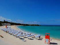 青く輝く海とサンゴが砕けてできた白い砂浜、青い空には輝く太陽!10月まで泳ぐことができます