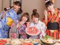 【神戸BEEFすき焼き】カップルから女子会などで大人気のすき焼きコース。※写真は3~4人前