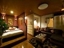 【風のかほり】オリエンタル調のお部屋。アジアンティストでバリの雰囲気。