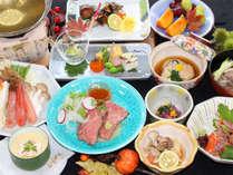 令和元年秋の特選会席《ズワイガニの蟹すき鍋、ローストビーフ、フォアグラ茶碗蒸し》