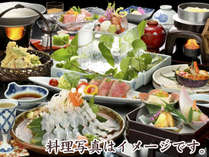 2018年夏の特選会席夕食一例(イメージ)。食材を厳選し調理長が腕によりをかけた和食会席です。