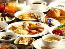 和洋のメニューを揃えた朝食バイキングはボリュームたっぷり!