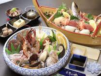 ≪海鮮残酷あみ焼と大漁舟盛プラン≫お料理一例 新鮮な味覚が勢ぞろいです!
