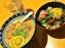 お好きなラーメン&ドリンクに志摩の郷土料理「てこね寿司」をつけちゃいました!(写真はイメージです)