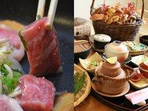 「信州牛ステーキ」と、秋の味覚の王様「松茸の土瓶蒸し」が付いた、「キノコ尽くしの創作会席」。