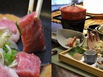"""「信州牛ステーキ」と、地の菜食を使用し""""和""""をベースに調理した冬の「創作野菜会席」。"""